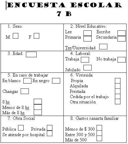 Séptimo B: Creación de formulario de Encuesta